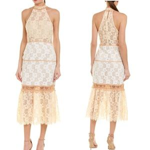 Foxiedox  Boho Lace Halter Neck Midi Dress